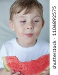 a small cute boy 4 years old is ... | Shutterstock . vector #1106892575