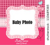baby arrival card with photo... | Shutterstock .eps vector #110689385