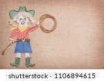 cowgirl in western clothes with ... | Shutterstock . vector #1106894615