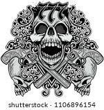 gothic coat of arms with skull  ... | Shutterstock .eps vector #1106896154