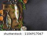 fresh tuna fish on sack with... | Shutterstock . vector #1106917067