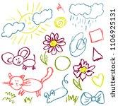 children's drawings. elements... | Shutterstock .eps vector #1106925131