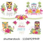 summer flower tiki elements | Shutterstock .eps vector #1106929949