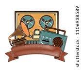 reel to reel tape recorder...   Shutterstock .eps vector #1106938589