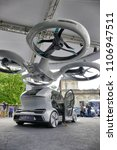 Small photo of Pop Up Next fully electric modular system developed by Audi Airbus and Italdesign combination of ground and air vehicle. Turin Italy June 6 2018