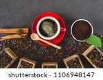 black coffee  in a red cup with ... | Shutterstock . vector #1106948147