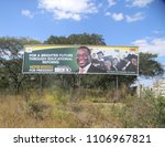 Small photo of Harare,Zimbabwe,02 June 2018.An Emmerson Mnangagwa 2018 Presidential election campaign Bill board beside a motorway in Harare.