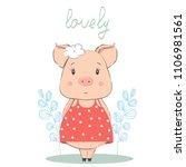 cute little pig in a dress.... | Shutterstock .eps vector #1106981561