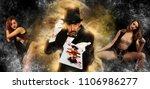magician in top hat showing...   Shutterstock . vector #1106986277