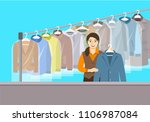 dry cleaning shop interior.... | Shutterstock .eps vector #1106987084