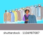 dry cleaning shop interior.... | Shutterstock .eps vector #1106987087