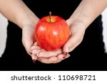 Big Red Apple In Woman Hands
