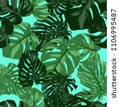 vector monstera leaves.... | Shutterstock .eps vector #1106995487