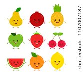 cute happy smiling funny raw... | Shutterstock . vector #1107007187