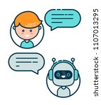 cute smiling chat bot is... | Shutterstock . vector #1107013295