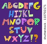 colorful patterns comic alphabet | Shutterstock .eps vector #110702171