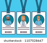 id cards doctors. young man and ... | Shutterstock .eps vector #1107028667