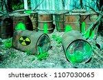 barrels with toxic radioactive... | Shutterstock . vector #1107030065