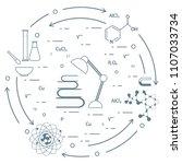 scientific  education elements. ... | Shutterstock .eps vector #1107033734
