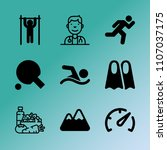 vector icon set about fitness... | Shutterstock .eps vector #1107037175