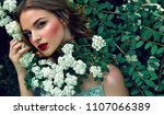 among the flowering bushes sits ... | Shutterstock . vector #1107066389