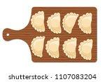 dumplings  pierogi  varenyky ... | Shutterstock .eps vector #1107083204