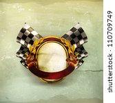 flag checkered emblem  old... | Shutterstock .eps vector #110709749