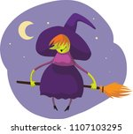 witch broom halloween | Shutterstock .eps vector #1107103295