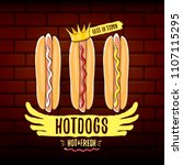 vector cartoon hotdogs label... | Shutterstock .eps vector #1107115295