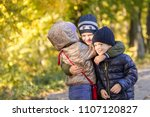 group of happy three kids... | Shutterstock . vector #1107120827
