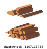 wooden logs. brown bark of... | Shutterstock .eps vector #1107135785