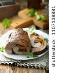Small photo of Homemade meat roulade stuffed with apricots and prunes
