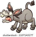 braying cartoon donkey. vector... | Shutterstock .eps vector #1107143177