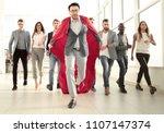 businessman in a superhero's... | Shutterstock . vector #1107147374