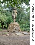 Small photo of VICTORIA FALLS, ZIMBABWE - CIRCA OCTOBER 2016: David Livingstone statue in the Victoria Falls national park