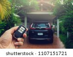 remote car keys  and black car... | Shutterstock . vector #1107151721