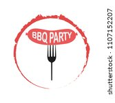 fork with grill sausage...   Shutterstock .eps vector #1107152207
