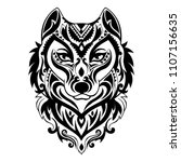 vector tribal style wolf totem... | Shutterstock .eps vector #1107156635