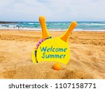 welcome summer text on rackets... | Shutterstock . vector #1107158771