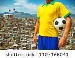 brazilian football player...   Shutterstock . vector #1107168041