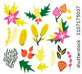 a set of graphic vector floral... | Shutterstock .eps vector #1107175037