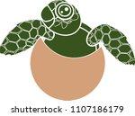 silhouette of cute cartoon sea... | Shutterstock .eps vector #1107186179