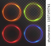 set of glowing circles. round... | Shutterstock .eps vector #1107195761