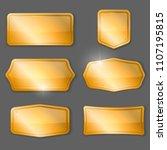 set of golden vector plaques or ... | Shutterstock .eps vector #1107195815