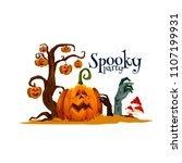 halloween pumpkin festive card... | Shutterstock .eps vector #1107199931