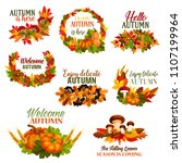 autumn leaf wreath set and... | Shutterstock .eps vector #1107199964