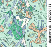 seamless mehndi vector pattern. ...   Shutterstock .eps vector #1107201461