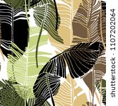 tropical leaves  jungle pattern.... | Shutterstock .eps vector #1107202064