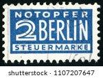 gdr   circa 1948  tax post... | Shutterstock . vector #1107207647