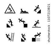 man falls  warning sign  set of ... | Shutterstock .eps vector #1107213821